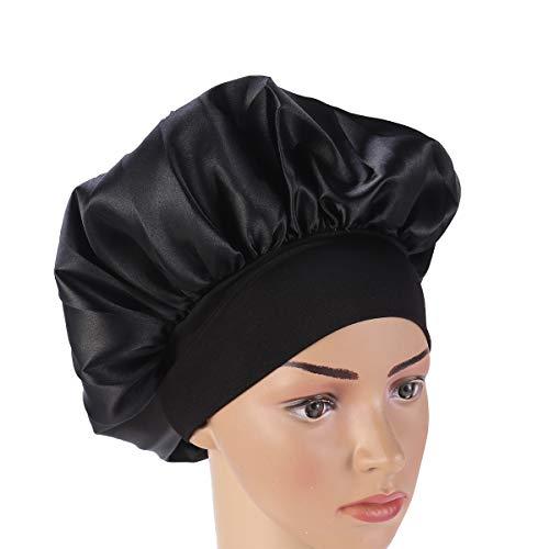 SUPVOX Satin Schlafmütze Nachtmütze Hut Lange Haare Motorhaube Nacht Haar Motorhaube Hut für Frauen Mädchen - schwarz (56-58cm)