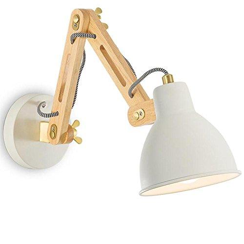 H&M Mur Lumière Moderne Éclairage Solide Bois Télescopique Rocker Bras Mur Lampe Applique Avec 1.5 M Fil Et Commutateur Pour Chevet Chambre Salon Décoration
