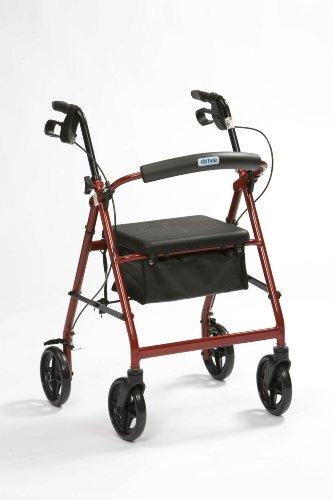 Drive Medical R8BDHA - Silla andador con ruedas (aluminio, altura ajustable), color rojo