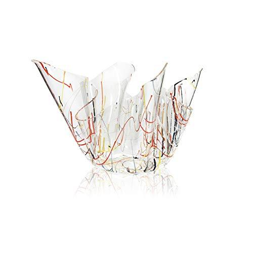 iPLEX - Vaso Linea Drappeggi in plexiglass Trasparente Drappeggiato a Mano 26x42x42 cm, Schizzo Artistico colorato - arredament
