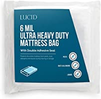 Deal on LUCID, Storage or Disposal 6 Mil Ultra Heavy Duty Mattress Bag for Moving, Queen, Clear