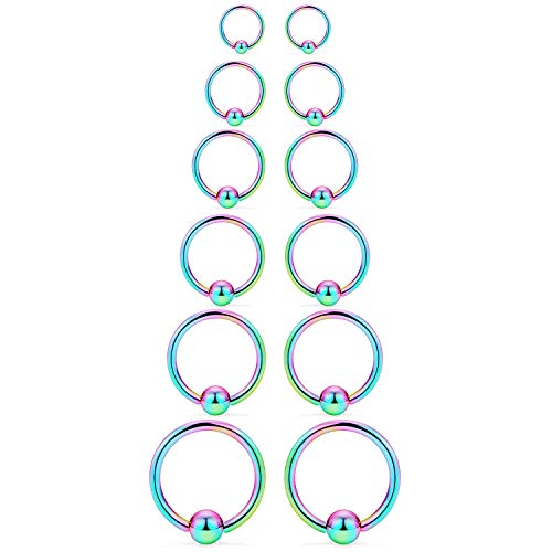 SCERRING 12PCS 14G Stainless Steel Captive Bead Ring Nose Rings Hoop Helix Daith Cartilage Tragus Earrings Nipple Eyebrow Body Piercing 8mm 10mm 12mm 14mm 16mm 19mm Rainbow
