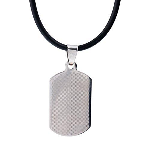 DonDon - Cadena de piel y colgante de acero inoxidable (con bolsita aterciopelada negra)