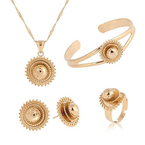 Necklace Pendants Earrings Ring Set African Gold Cross Jewelry Set