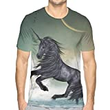 GUUi Mens 3D Printed T Shirts,Black Unicorn in The Ocean with Moon Abstract Mythical Creatures Hand Drawn Design S