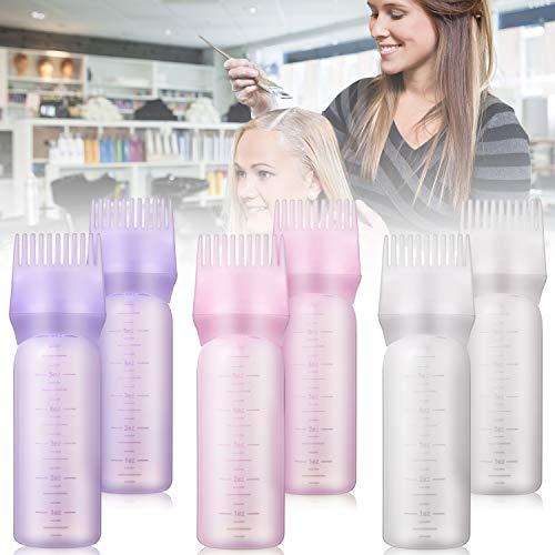 6 Pieces Root Comb Applicator Bottle, 4 Ounce Hair Color Applicator Bottle with Graduated Scale Hair Dye Bottle Applicator Brush for Salon Home Supplies