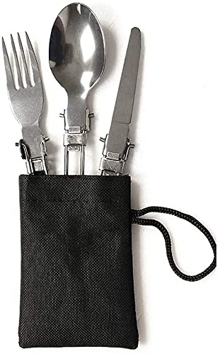 SveBake 3 Satz Faltbare Edelstahl Besteck Messer Gabel Löffel Tragbare mit Tasche