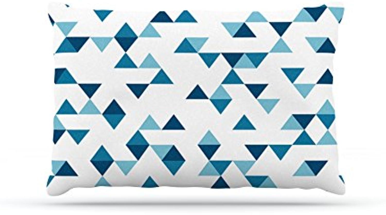 Kess InHouse Emeline Tate Robertson Dog Fleece Bed, 30 by 40Inch, Triangles bluee