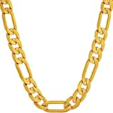 LIFETIME JEWELRY 7mm Figaro Chain Necklace 24k Gold Plated for Men Women & Teen, 24 Inches