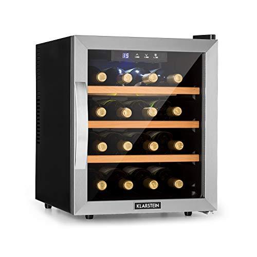 Karstein Reserva 16 Refrigerador de vino - Nevera termoeléctrica bebidas, Eficiencia B, 34 dB, 1 zona, 48 L, 16 botellas, 11-18 °C, Frente de vidrio, marco de acero inoxidable, Pantalla LED, Negro