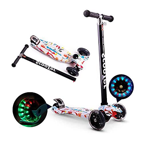 Scooter Ligero para niños Mini Deluxe Flap Choque para niños, PU Ruedas de Puente Ancho Intermitentes para niños de 2 a 14 años