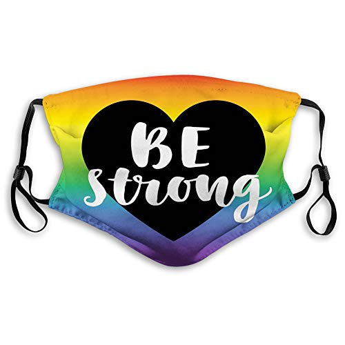 Women Men Multifunctional Half Face Bandana Reusable 3D Print Breathable Dust Protective Face Covering, Stretchy, Be Strong Gay Parade Slogan Rights Equality Love Valentines
