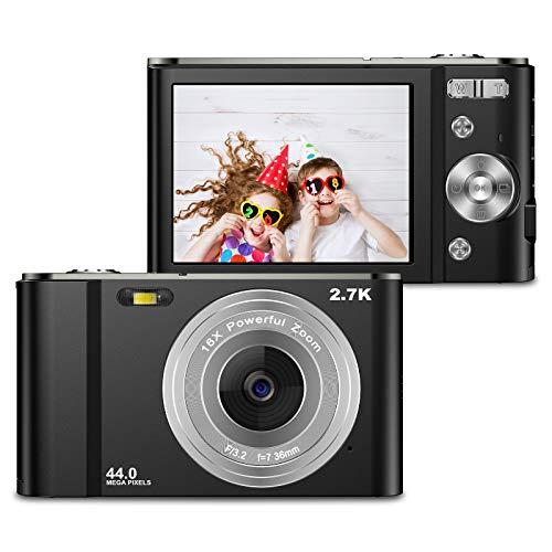 Cámara digital VAFOTON de 44 MP 2.7 K Cámara LCD recargable Mini compacta de bolsillo con zoom 16X para adultos mayores estudiantes niños principiantes