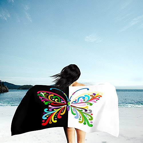 Surwin Grande Toalla de Playa de Microfibra Toalla 3D Mariposa ala Impresión de Secado Rápido Súper Absorbente Natación Toalla de Arena Antiadherente para Playa (Blanco Negro,70x150cm)