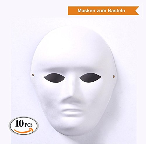 ZADAWERK® Maske - Unbemalt - Mann - 10 Stück