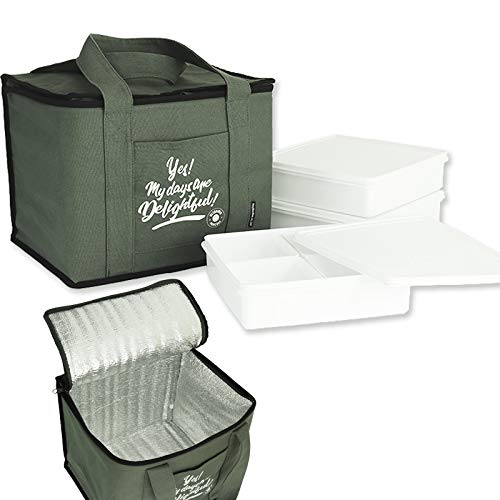 デライトフル ミリタリーカーキ 保冷バッグ(コットン)付 ピクニック3段 ランチボックス お弁当箱セット
