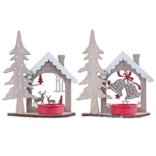 VOSAREA, 2 portacandele in legno, per Natale, tè, candelabro, campanella con cervo, decorazione per tavolo rustico, festa di matrimonio, compleanno, vacanze