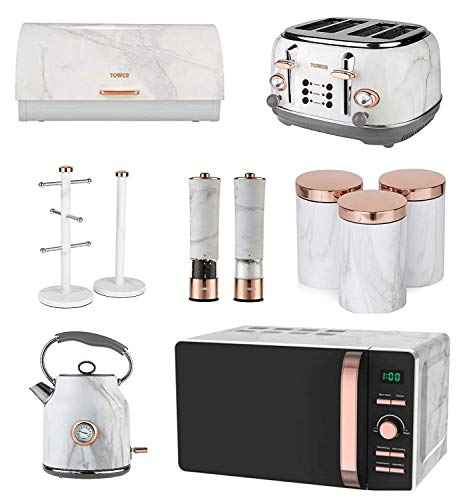 Rose Gold & White Marble Tower Kitchen Set of 11 - Digital Microwave, Kettle & 4 Slice Toaster, Bread bin, 3 Canisters, Towel Pole, 6 Mug Tree & Electric Salt and Pepper Mills