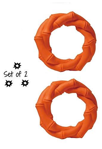 Mewajump Hundekauspielzeug, 2er Set aus Naturkautschuk. Innere Größe: 55-60 mm, äußere Größe: 105-110 mm.Gut für die Zähne und Zahnfleisch - Toll für die Hunde. (Orange, Ring)