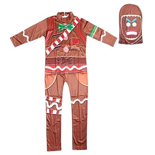 BCOGGGGame Skin Gingerbread Man - Disfraz para nios, disfraz de Halloween para nios, fiesta de baile, carnaval, XXL, marrn