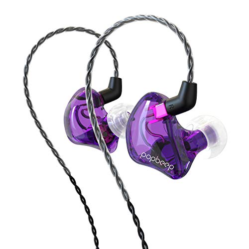 BASN in-Ear Monitor Headphones Dual Dynamic Drivers in Ear Earphones Detachable MMCX Cable Musicians in-Ear Earbuds Headphones (BC100 Purple, with no Mic)