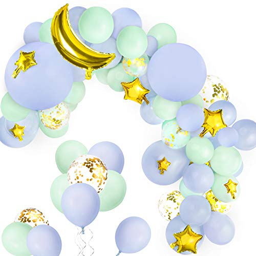 139 Pcs Blue Balloons Garland Arch Kits for Baby Shower, GAGAKU Gold Foil Moon and Star Balloons Birthday Wedding Under the Stars Night Sky Themed Party