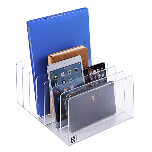 Acrylic File Holder, Clear Paper Sorter, Folder, Book, Letter, Electronics, Purse, Palette, Notebook, Desk, Organizer, Large 7 Section, Lucite, 12-Inch Wide x 10-Inch Deep x 6-Inch High.