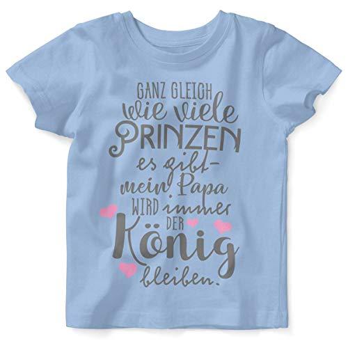 Mikalino Baby/Kinder T-Shirt mit Spruch für Jungen Mädchen Unisex Kurzarm Ganz gleich wie viele Prinzen es gibt | handbedruckt in Deutschland, Farbe:Sky, Grösse:92/98