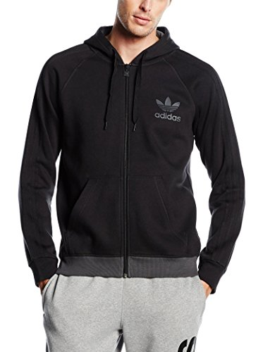 adidas Spo Full Zip Felpa, Nero, XL