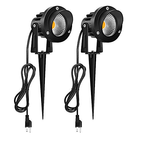 Outdoor LED Spotlight 10W, Romwish 120V AC LED Landscape Lights with Metal Ground Spike, 3000K Warm White, IP65 Waterproof, 5FT Cord with Plug for Lawn, Garden, Yard, Flag Light ( 2 Pack)