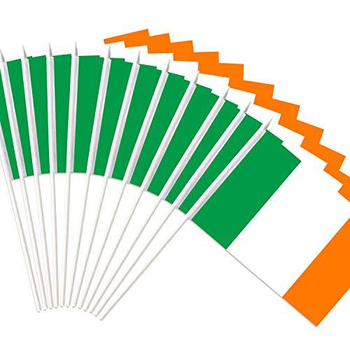 Anley Bandera de Palo de Irlanda, Bandera Nacional de Irlanda de 5x8 Pulgadas con Mini asta con Poste sólido Blanco de 12