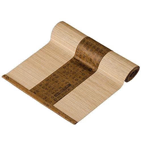 YPSOU Camino de mesa de bambú natural, estilo rústico, estilo shabby chic para Navidad, decoración de mesas de boda rústica, decoración de mesa de cocina de granja (tamaño: 30 x 210 cm, color: marrón)
