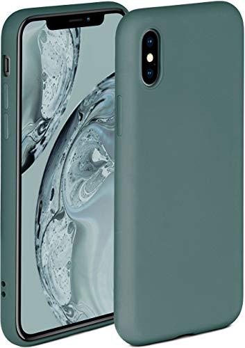 ONEFLOW Soft Hülle kompatibel mit iPhone X/iPhone XS Hülle aus Silikon, erhöhte Kante für Displayschutz, zweilagig, weiche Handyhülle - matt Petrol