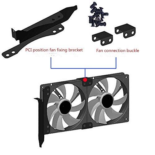 Siyu Xinyi Fan Mount,Dual Fan Mount Rack PCI Slot Bracket for Video Card DIY Support 9cm/12cm Fan Computer Radiator Holder,for VGA Video Card Cooling,Stand Bracket Kit (Black Metal)