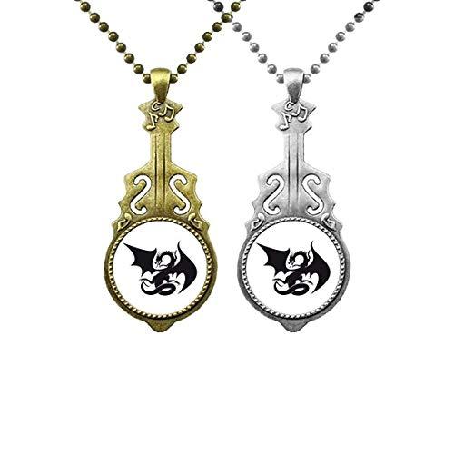 Dragon Animal Art Grain Silhouette Liebhaber Musik Gitarre Anhänger Schmuck Halskette Anhänger