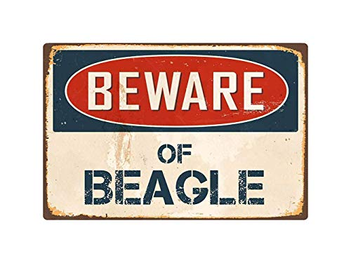 Cimily Beware Of Beagle Quality Words Ation Inch Vintage Tin Sign Metal Sign Poster Retro Iron Painting Plaque Art Wall Decor 12×8 Inch