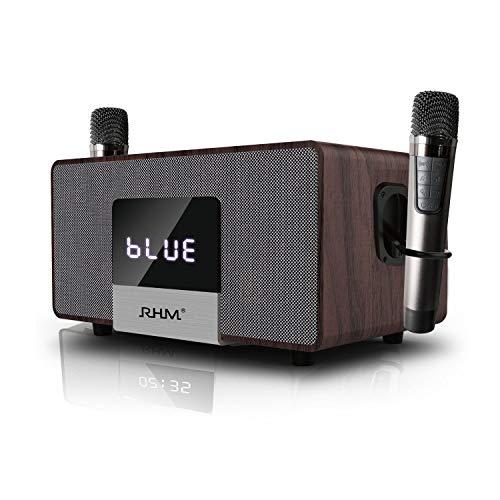 RHM Home Karaoke sistema en TV con 2 micrófonos inalámbricos, todo en uno sistema de altavoces PA inalámbrico con Bluetooth/AUX/USB, juego de KTV profesional para reuniones, hogar, fiesta, discurso