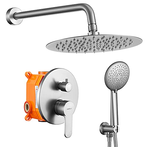 """Brushed Nickel Shower System, Wall Mounted Shower Faucet Set with High Pressure 12"""" Stainless Steel Rain Shower head and 5-Setting Handheld Shower Head Set, 2 Way Pressure Balance Shower Valve Kit"""