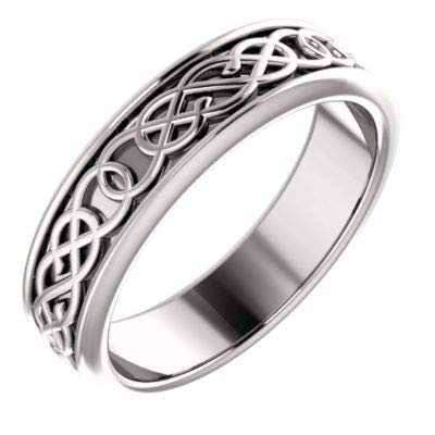 14ct White Gold Size N 1/2 Polished 5mm Irish Claddagh Celtic Trinity Knot Design Band Ring Jewelry Gifts for Women