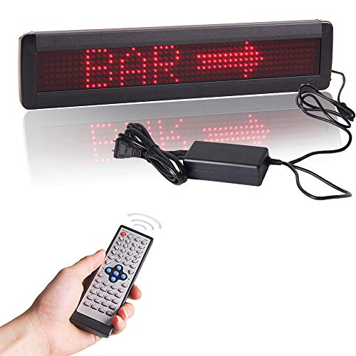 Programmable LED Sign, High Resolution Scrolling LED Sign, High Quality Red LED Message Board with Remote Control and Password Protection (7 x 50 dots)