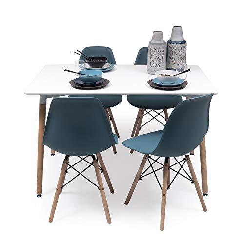 Conjunto de Comedor Tower con Mesa lacada Blanca y 4 sillas, de diseño nórdico (140x90, Turquesa)