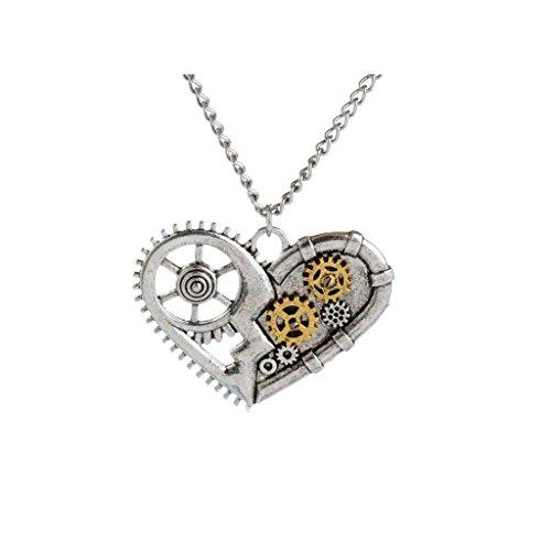 Bonarty Moda Aleación de Plata Steampunk Colgante Collar Tallado Engranajes Patrón de Corazón