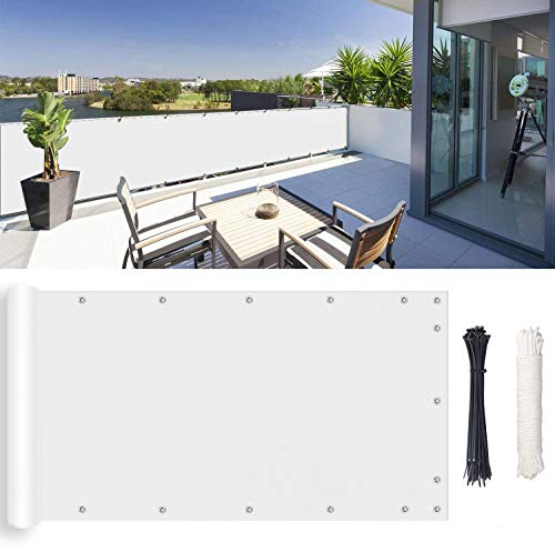 Patio Privacy Screens, UV Protection, with Cable Ties & Ropes for Patio, Fence, Backyard, Porch, 0.85x7m, White