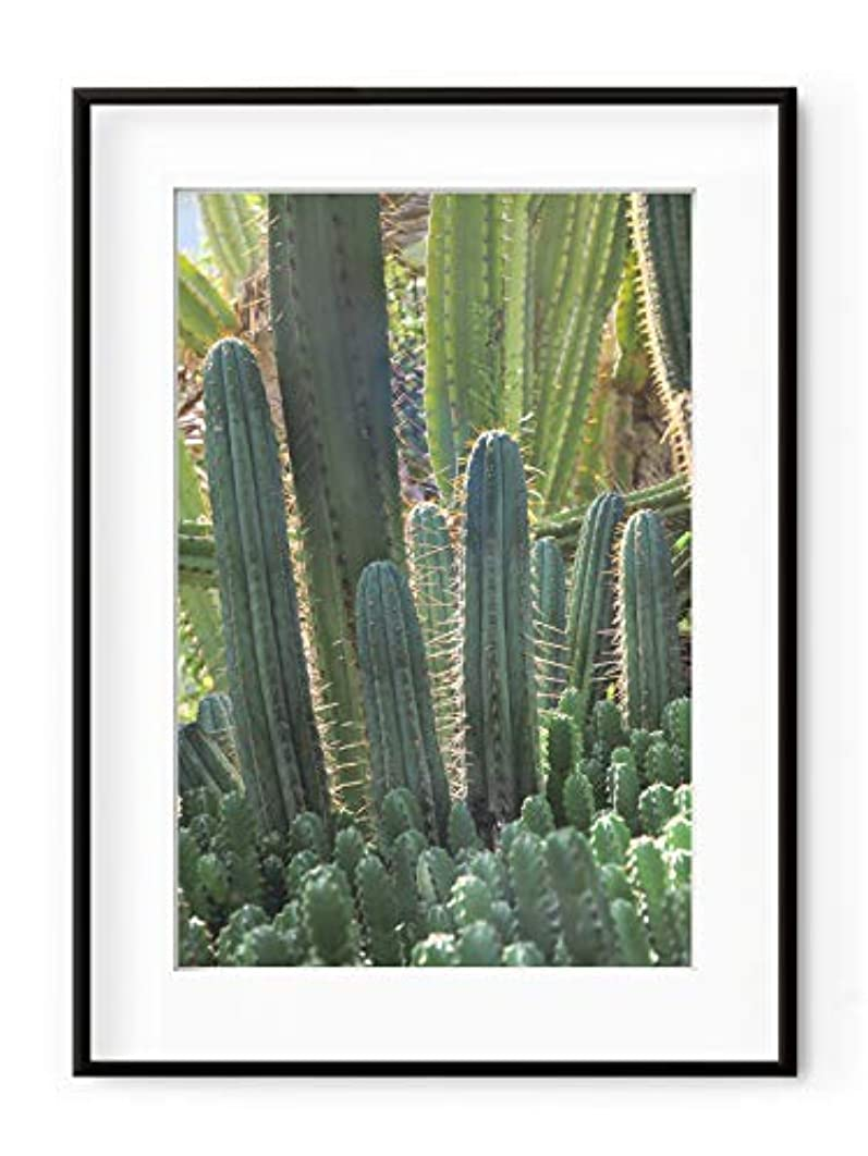 Cactus Candles, Natural Solid Oak Frame, with Mount, Multicolored, 50x70