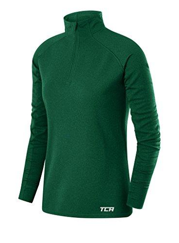 TCA Women's Cloud Fleece ¼ Zip Thermal Running Top with Zip Pocket - Forest Green, Small