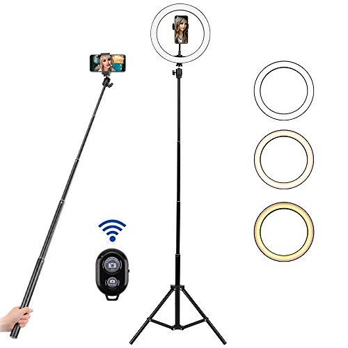 "BLOOMWIN Aro de Luz LED Regulable 10"" para Fotografía Anillo de Luz con Soporte Trípode Palo Selfie Control Remoto Bluetooth USB para TIK Tok Móvil Youtube Selfie Video Maquillaje Transmisión en Vivo"