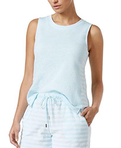 Nautica Side-Striped Pajama Top,Blue Stripe,Medium