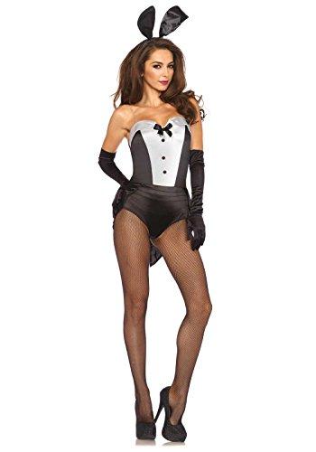 Leg Avenue- Conejito Mujer, Color blanco y negro, Large (EUR 42-44) (8546703007)
