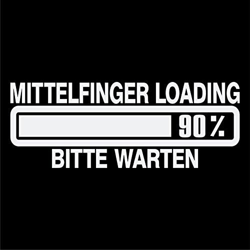 Mittelfinger Loading Bitte Warten Aufkleber Spruch Fun Tuning Autoaufkleber (Weiss)