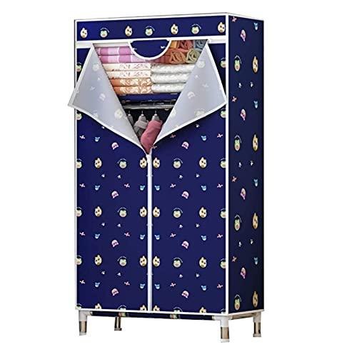 LICHUAN Armario simple para dormitorio, tela Oxford, armario portátil, tubo de acero de 25 mm, marco de acero, gabinete de almacenamiento de ropa (color: A)